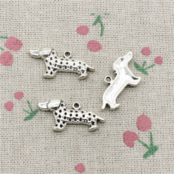 57pcs Charms dog dachshund 13*28mm Antique Silver Pendant Zinc Alloy Jewelry DIY Hand Made Bracelet Necklace Fitting