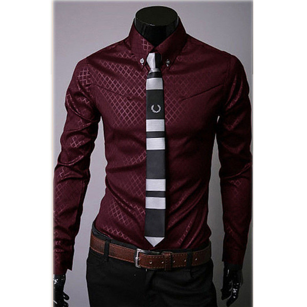 best selling Wholesale- Fashion Men's Casual Shirts Slim Fit Dress Shirts Long Sleeve Button Tops-448E