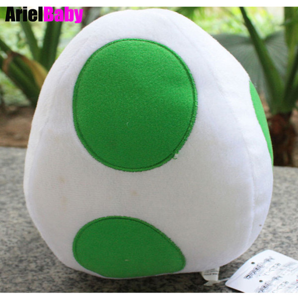 "OHMETOY Super Mario Bros Yoshi Egg Soft Stuffed Plush Cartoon Toy Baby Doll Stuffed Animal Green Approx 8"" Birthday Gift"