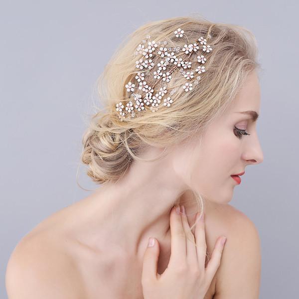 Beijia Altın Pretty Çiçek Düğün Saç Vine Rhinstone Gelin Tarak Takı El Yapımı Kadın Aksesuarları Başlığı