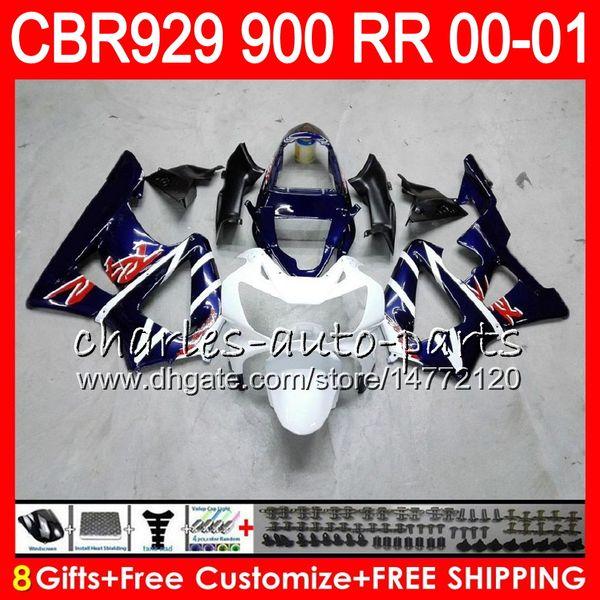 Body For HONDA CBR 929RR CBR900RR CBR929RR 00 01 CBR 900RR TOP Blue white 67NO11 CBR929 RR CBR900 RR CBR 929 RR 2000 2001 Fairing kit 8Gifts