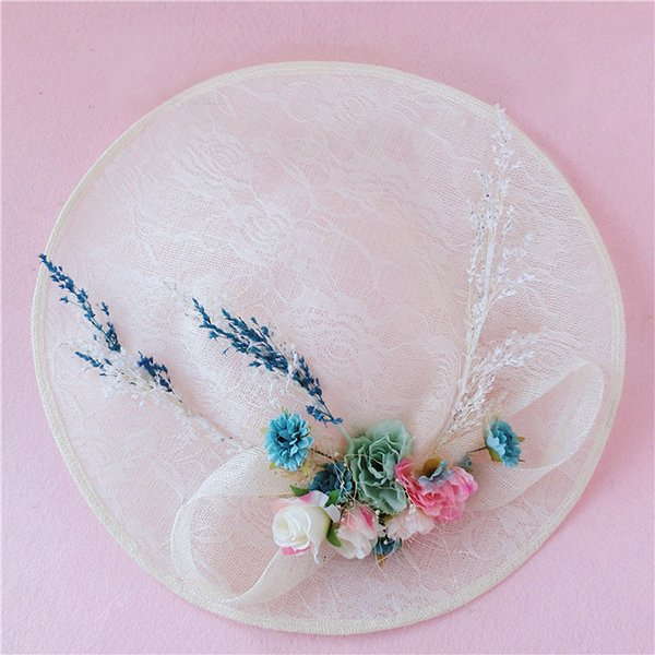 Romantic Bridal Hat Floral Tulle Linen Lace Garden Wedding Hair Accessory Bride Mother Special Occasion Party Photo Hats Free Shipping Hot