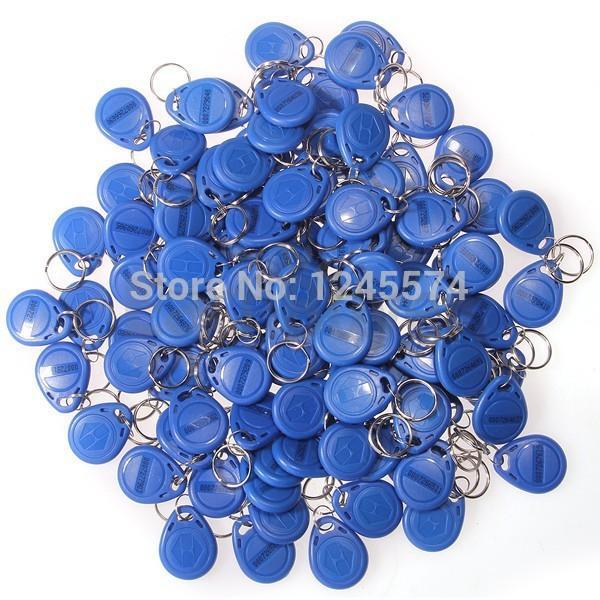 Wholesale- 100pcs 125Khz RFID Proximity IC Token Tag Key Ring Keyfobs Blue
