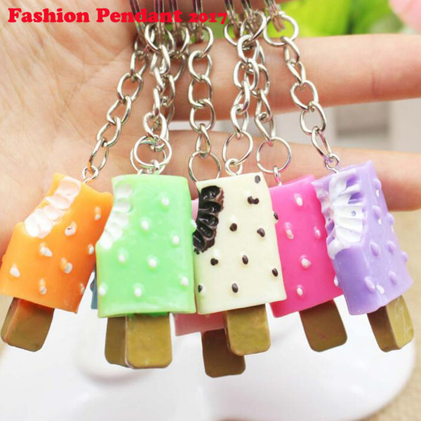 2017 NEW ARRIVAL Sweet Ice cream Key Rings Chains Pendant Ornament For bag car Keychain free shipping