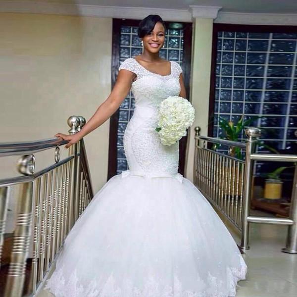 Luxuxkorne-Kristallmeerjungfrau-Hochzeits-Kleider Schaufel-Ansatz-Applique plus Größe passte 2018 Arabien-Brautkleid-Zug-Kirchen-Braut-Kleid-Gewohnheit