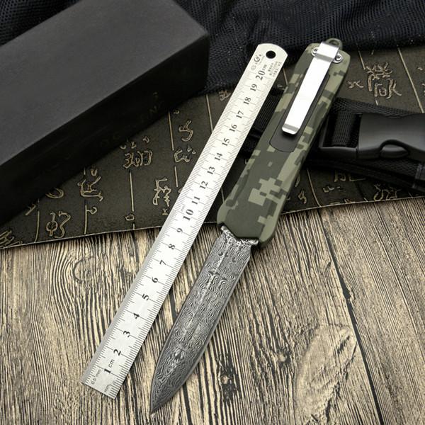 Novo 2017 4 Damasco aço dupla lâmina fina liga de zinco lidar com faca de salto em linha automática de dobramento camping tático utilitário de montanhismo