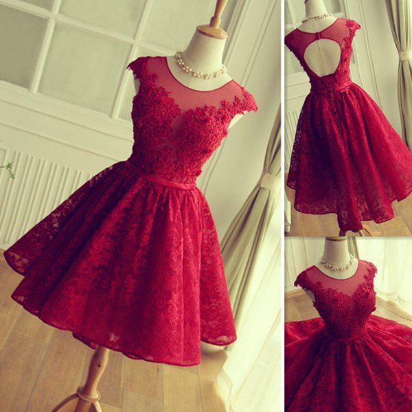 Short Red Lace Homecoming Dresses 2017 Sheer Cap Sleeve A Line Girls ...