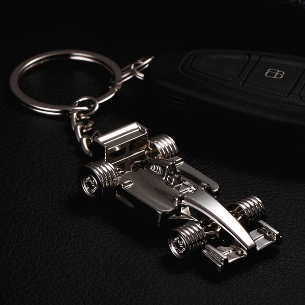 fashion keychains 3d f1 racing car keychain zinc alloy cool keyring