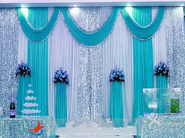 3m*4m 3m*6m 4m*8m ice silk Wedding Backdrop Swag Party Curtain with silver Sequin Fabric Drape Luxury Wedding Props Satin Drape curtain