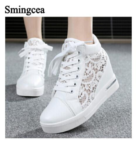 6cm High Fashion cutouts lace white canvas shoes hollow floral print breathable platform women casual mesh shoes zapatos mujer