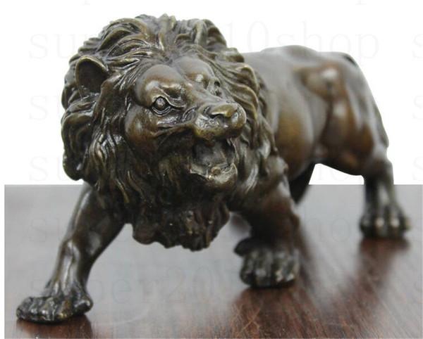 SculptureCarving Lions Bronce café Fierce Wild Animals Figure Leones Estatua