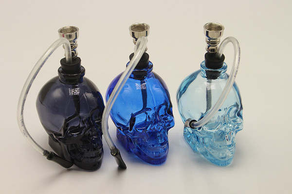 2016 Colorful Glass Water Pipe Hookah Smoking Tobacco Pipes Filter Punk Ghost Head Skull Shaped Hookah Portable Fashion Best Gifts