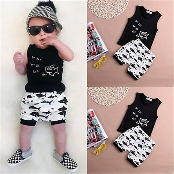 Mikrdoo Hot Baby Sommer Anzug Neugeborenen Kinder Jungen Kleidung Set Doo Doo Buchstaben Gedruckt Sleeveless Tank Top Tops Shark Hosen Kurze Baumwolle Outfits
