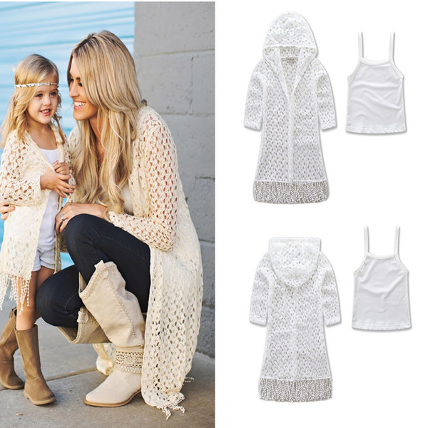 New Fashion Family Clothing Mum Girl Tassel Hollow Cardigan Coat Tank Tops 2pcs Sets For Mother And Daughter Clothes Set Suits White A6863