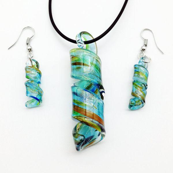 5 Set blue Swirl Lampwork Murano Glass Beads Necklace Earrings FASHION 57 x 18 mm