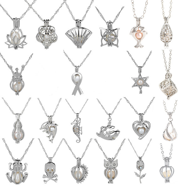 best selling 18kgp Fashion love wish pearl  gem beads locket cages Pendants, DIY Pearl charm pendants mountings 50pcs