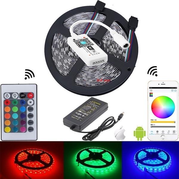 kit complet 5050 bandes led lumière rvb + mini contrôleur intelligent sans fil Android iOS téléphone mobile wifi + alimentation