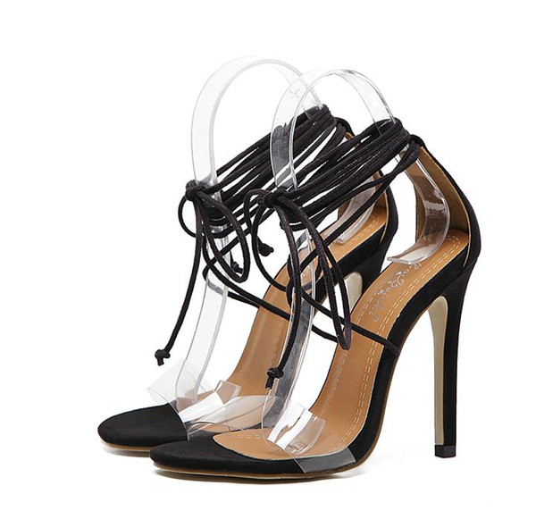 2017 Black Ankle Strappy Open Toe Stiletto Heels Ladies High Heel Gladiator Sandals Size 35 to 40