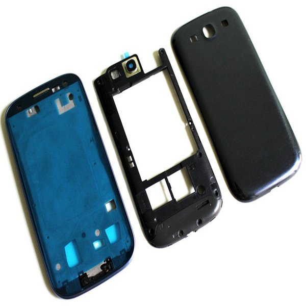 100PCS Full Housing Case Cover Middle frame Bezel with Side Buttons and Home Buttons Replacements for Samsung Galaxy S3 i9300 free DHL