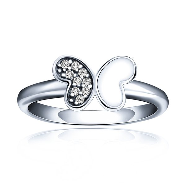 Fashion Jewelry 925 Sterling Silver Half a silver butterfly ring Diamond Ring For Women Wedding Party
