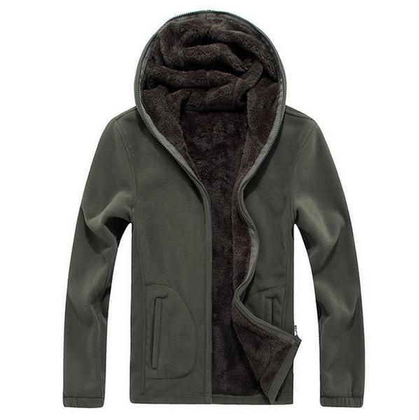 Al por mayor-Invierno de los hombres abrigos abrigos de lana ropa deportiva masculina chaquetas térmicas espesar polar con capucha Softshell sudaderas outwear hombres 5XL 6XL 7XL