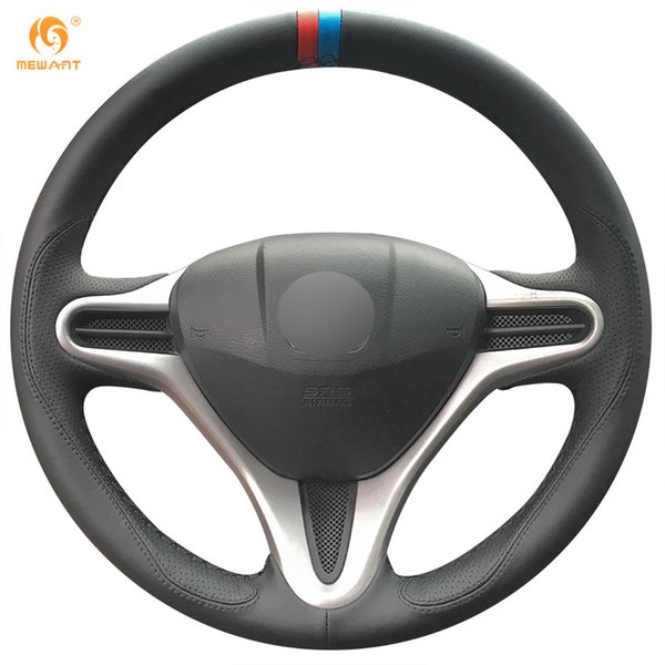 Mewant Black Leather Car Steering Wheel Cover for Honda Fit 2009-2013 City Jazz