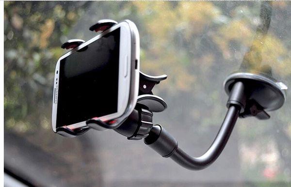 Универсальный 360 Градусов Вращающийся Длинный Рука Лобовое стекло мобильного телефона Автомобильный Держатель Кронштейна Стенд для iPhone Мобильный Телефон GPS MP4 КПК