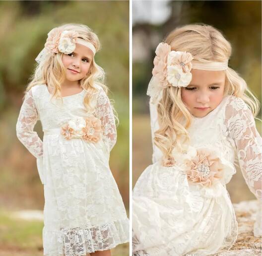 2017 Boho Lace Flower Girl Vestidos Para Verano Jardín Bodas Hasta la rodilla Cuello redondo Niños Formal Viste Niñas Vestidos de cumpleaños