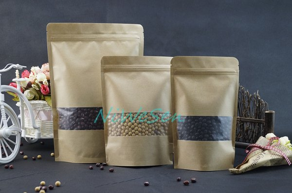 18x26cm 100pcs/lot X brown stand up kraft paper with matte transparent window ziplock bags resealable-coffee bean/oatmeal paper pouch