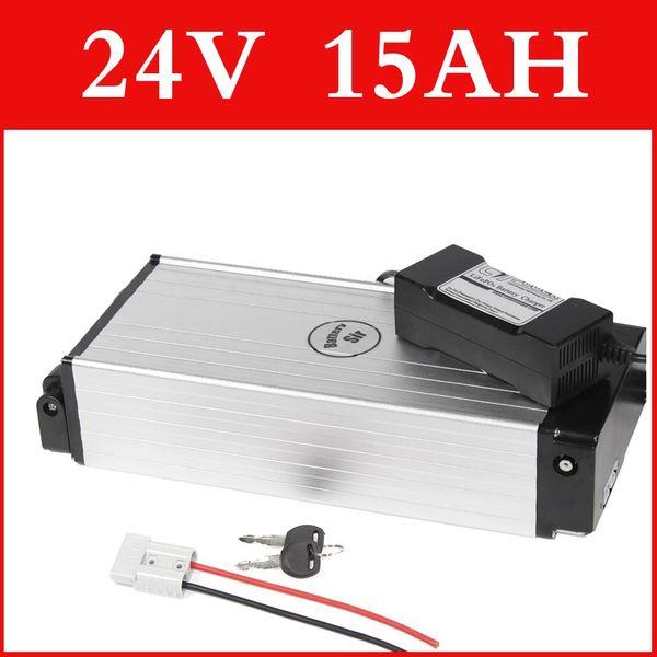24 V 15AH lithium-batterie aluminiumlegierung Gepäckträger elektrische fahrradbatterie 29,4 V lithium-ionen-akku + ladegerät + BMS