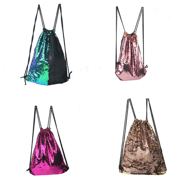 5pcs 2017 New Backpack Style Mermaid Sequin Drawstring Bags Reversible Paillette Outdoor Backpack Glitter Sports Shoulder Travel Bag