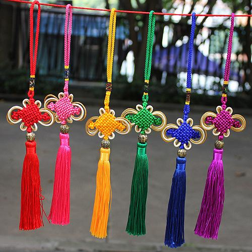 best selling Multi-Color Auspicious Chinese Knot Tassel High-Grade Keychain Cellphone Straps Car handbag Pendant Jewelry Decoration 26CM DIY Accessory