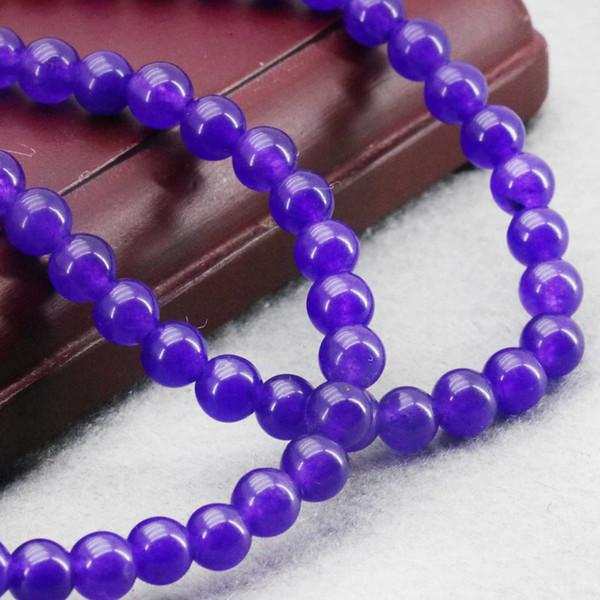 6mm Dark-Purple Klarheit Jade Perlen Runde Jasper DIY Perlen Steine 15 Zoll Schmuck machen Design Großhandel für Frauen Mädchen Geschenke