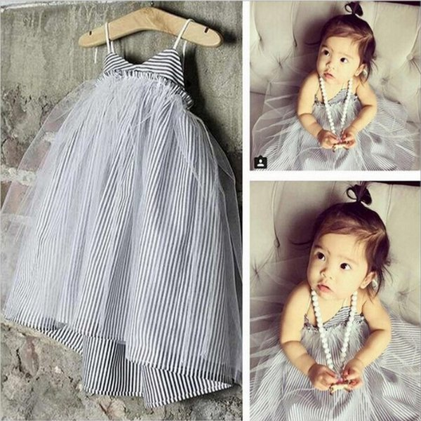 INS Girls Dresses Striped Dress Gauze Veil Lace TUTU Slip Dress Girls Party Dress Suspender Braces Skirt Baby Clothes Kids Clothing 018