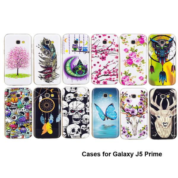TPU Case for Samsung Galaxy J5 Prime Noctilucence Cases Glow at Night Blue Butterfly Feather Owl Sika Deer Lovly Animal