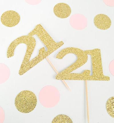 Custom 2017 Glitter Cupcake toppers 21st birthday decorations custom number wedding toothpicks Bridal baby shower party decorations Festive