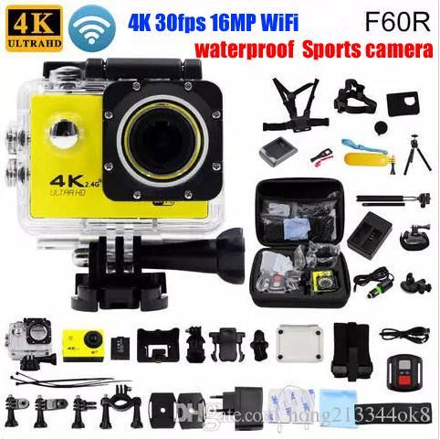 F60 / F60R Câmera de Ação Original 4 K 30fps 16MP WiFi 170D Capacete Cam subaquática ir à prova d 'água câmera de Esportes