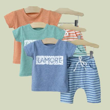 Summer New Baby Boys Sets Short Sleeve Tops T-shirt+ Striped Shorts 2pcs Set Kids Outfits Children Cotton Clothing Sets