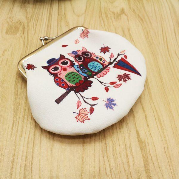 20pcs Fashion PU leather key purse Portable cute Owl shape Clutch Bag Handbag mini Coin change Purse Animal Graphic Wallet Christmas Gift