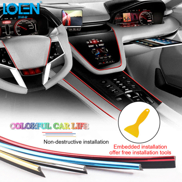 5M Auto Innenraum Formteile Ordnungs Streifen Aufkleber Auto Mittelkonsolen  Dekoration Tür Auto Marke Auto Styling 3D Interne Zusätze