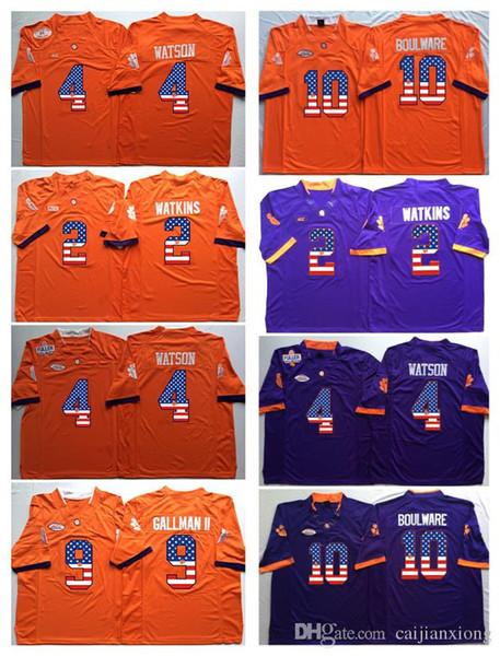 Clemson Tigers 2 Sammy Watkins 4 DeShaun Watson 9 Wayne Gallman II 10 Ben Boulware College Football Jersey Men Flag Jerseys