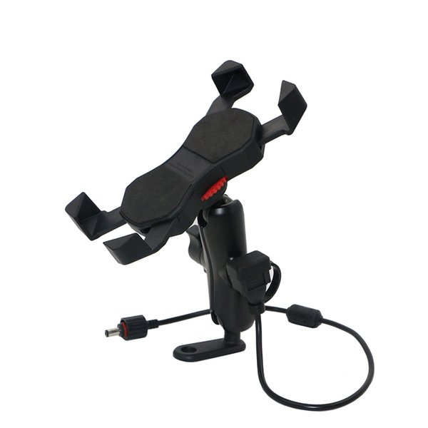 Universal Cell Phone Holder Phone Mount 9cm Arm Retractable Grip With USB Charger For Motorcycle Mirror Base/Microscope Base KPH-UX-9-L USB