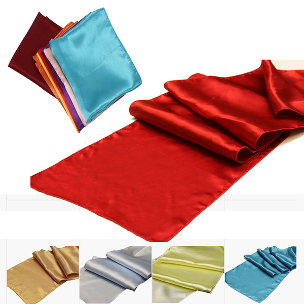 top popular Satin Table Runners for Wedding Decoration Bright Silk and Smooth Fabric Party Table Runners 30cm x 275cm free dhl shipping 2019