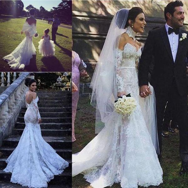 Romantic Full Lace Country Wedding Dresses 2018 Long Sleeves Sweetheart Mermaid Sweep Train Middle East Bridal Dress Robe De Mariage Custom