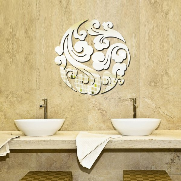 Auspicious Cloud 3d Mirror Wall Stickers Diy Art Decal Removeable ...