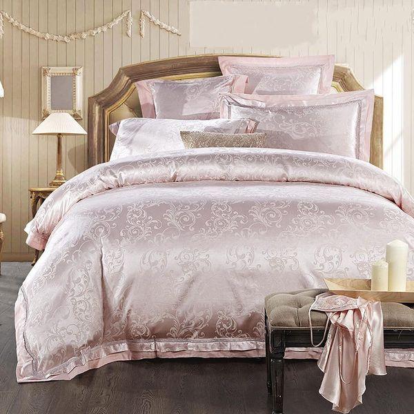 4/6pcs Jacquard Home Textile Bedding Set Luxury Silk Satin Quilt/Duvet Cover Queen King Size Bedclothes Bed Set Linen Cotton
