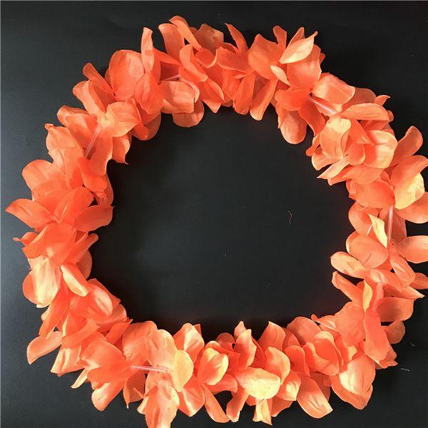 Orange Hawaiian Hula Leis Festive Party Garland Necklace Flowers Wreaths Artificial Silk Flowers 100pcs lot