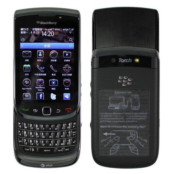 Refurbished Original Blackberry Torch 9800 3G Slide Phone 3.2 inch Touch Screen + QWERTY Keyboard 5MP Camera Unlocked Cell Phone DHL 1pcs