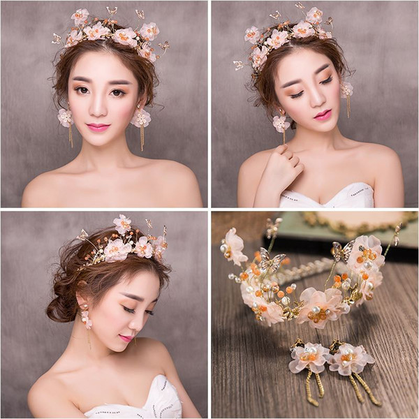 Woman headdress hair Lomen bride headdress crown two piece Hoop Earrings crystal flowers wedding dress accessories 6210649