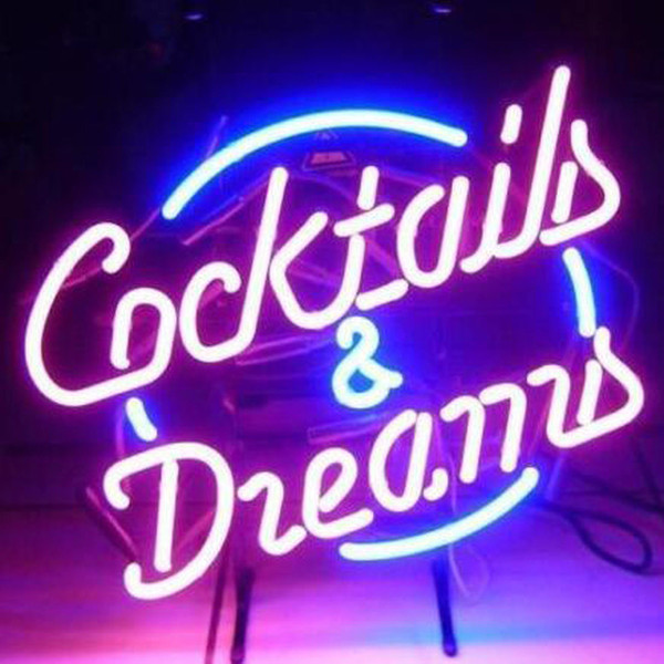 """17""""x14""""Cocktails And Dreams Real Glass Neon Light Signs Beer Bar Pub Display"""